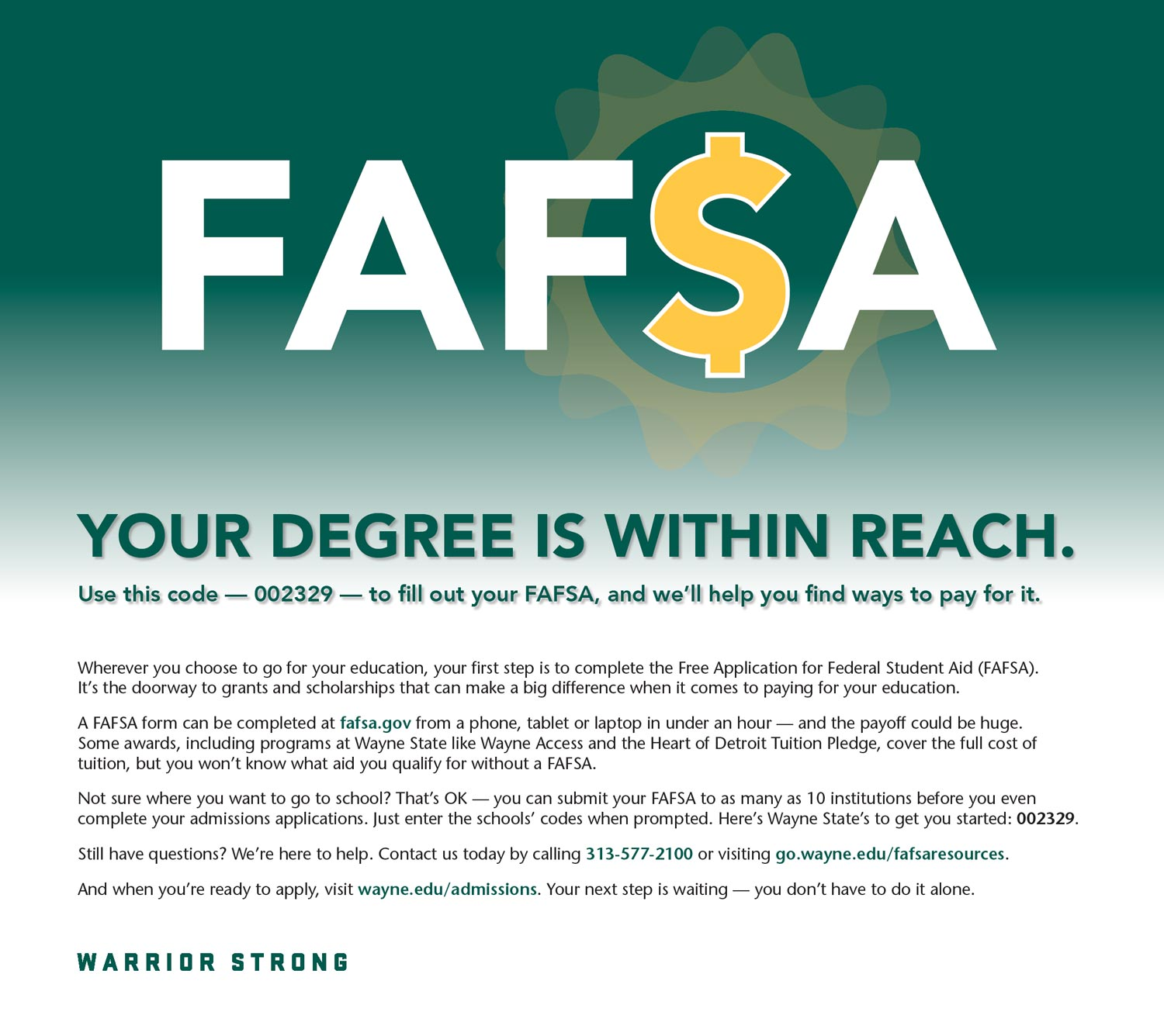 Free Application for Federal Student Aid (FAFSA) Advertisement